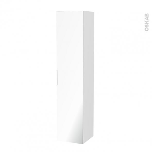 Colonne de salle de bains - 1 porte miroir - IPOMA Blanc mat - Côtés décors - L40 x H182 x P40 cm
