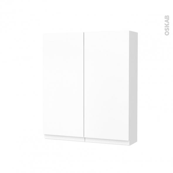 Armoire de toilette - Rangement haut - IPOMA Blanc mat - 2 portes - Côtés décors - L60 x H70 x P17 cm