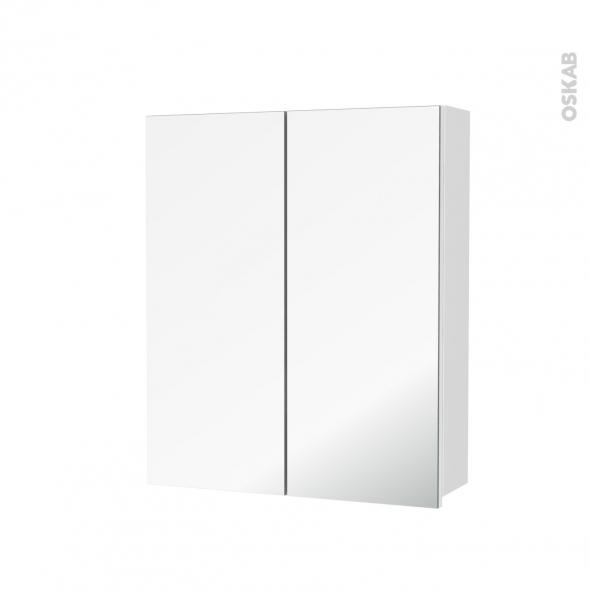 Armoire de toilette - Rangement haut - IPOMA Blanc mat - 2 portes miroir - Côtés décors - L60 x H70 x P17 cm