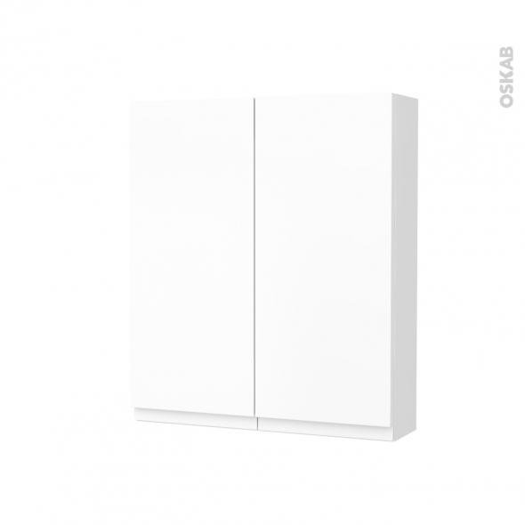 Armoire de toilette - Rangement haut - IPOMA Blanc mat - 2 portes - Côtés blancs - L60 x H70 x P17 cm
