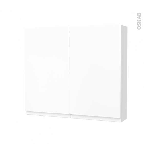 Armoire de toilette - Rangement haut - IPOMA Blanc mat - 2 portes - Côtés blancs - L80 x H70 x P17 cm