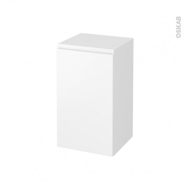 Meuble de salle de bains - Rangement bas - IPOMA Blanc mat - 1 porte - L40 x H70 x P37 cm
