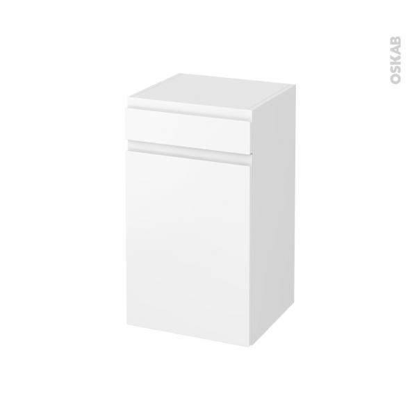 Meuble de salle de bains - Rangement bas - IPOMA Blanc mat - 1 porte 1 tiroir - L40 x H70 x P37 cm