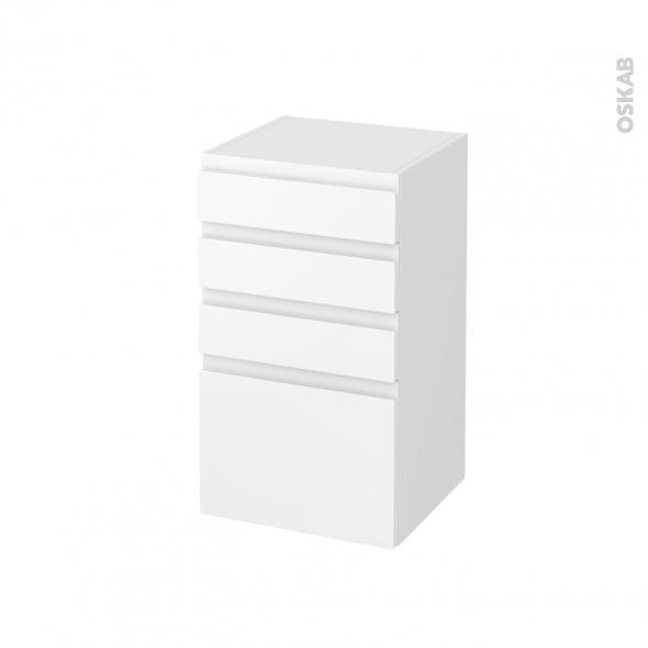 Meuble de salle de bains - Rangement bas - IPOMA Blanc mat - 4 tiroirs - L40 x H70 x P37 cm