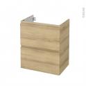 Meuble de salle de bains - Sous vasque - IPOMA Chêne Naturel - 2 tiroirs - Côtés décors - L60 x H70 x P40 cm