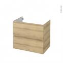 Meuble de salle de bains - Sous vasque - IPOMA Chêne Naturel - 2 tiroirs - Côtés décors - L80 x H70 x P50 cm