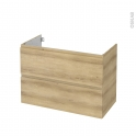 Meuble de salle de bains - Sous vasque - IPOMA Chêne Naturel - 2 tiroirs - Côtés décors - L100 x H70 x P50 cm