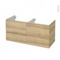 Meuble de salle de bains - Sous vasque double - IPOMA Chêne Naturel - 4 tiroirs - Côtés décors - L120 x H57 x P50 cm