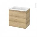 Meuble de salle de bains - Plan vasque REZO - IPOMA Chêne Naturel - 1 porte - Côtés décors - L60,5 x H58,5 x P40,5 cm