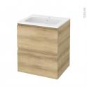 Meuble de salle de bains - Plan vasque REZO - IPOMA Chêne Naturel - 2 tiroirs - Côtés décors - L60,5 x H71,5 x P50,5 cm