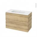 Meuble de salle de bains - Plan vasque REZO - IPOMA Chêne Naturel - 2 tiroirs - Côtés décors - L100,5 x H71,5 x P50,5 cm