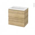 Meuble de salle de bains - Plan vasque REZO - IPOMA Chêne Naturel - 2 tiroirs - Côtés décors - L60,5 x H58,5 x P40,5 cm