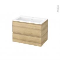 Meuble de salle de bains - Plan vasque NAJA - IPOMA Chêne Naturel - 2 tiroirs - Côtés décors - L80,5 x H58,5 x P50,5 cm