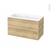 Meuble de salle de bains - Plan vasque NAJA - IPOMA Chêne Naturel - 2 tiroirs - Côtés décors - L100,5 x H58,5 x P50,5 cm