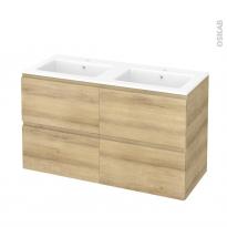 Meuble de salle de bains - Plan double vasque NAJA - IPOMA Chêne Naturel - 4 tiroirs - Côtés décors - L120,5 x H71,5 x P50,5 cm