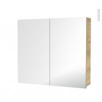 Armoire de toilette - Rangement haut - IPOMA Chêne Naturel - 2 portes miroir - Côtés décors - L80 x H70 x P17 cm