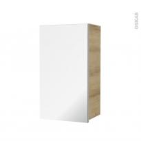 Armoire de salle de bains - Rangement haut - IPOMA Chêne Naturel - 1 porte miroir - Côtés décors - L40 x H70 x P27 cm