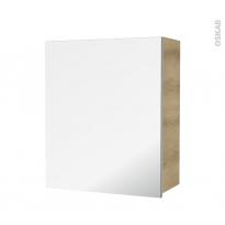 Armoire de salle de bains - Rangement haut - IPOMA Chêne Naturel - 1 porte miroir - Côtés décors - L60 x H70 x P27 cm