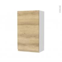 Armoire de salle de bains - Rangement haut - IPOMA Chêne Naturel - 1 porte - Côtés blancs - L40 x H70 x P27 cm