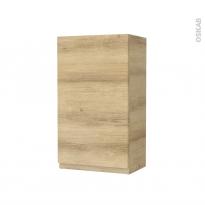 Armoire de salle de bains - Rangement haut - IPOMA Chêne Naturel - 1 porte - Côtés décors - L40 x H70 x P27 cm