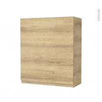 Armoire de salle de bains - Rangement haut - IPOMA Chêne Naturel - 1 porte - Côtés décors - L60 x H70 x P27 cm