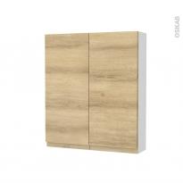 Armoire de toilette - Rangement haut - IPOMA Chêne Naturel - 2 portes - Côtés blancs - L60 x H70 x P17 cm
