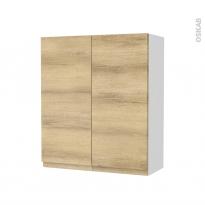 Armoire de salle de bains - Rangement haut - IPOMA Chêne Naturel - 2 portes - Côtés blancs - L60 x H70 x P27 cm