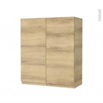 Armoire de salle de bains - Rangement haut - IPOMA Chêne Naturel - 2 portes - Côtés décors - L60 x H70 x P27 cm