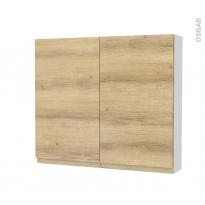 Armoire de toilette - Rangement haut - IPOMA Chêne Naturel - 2 portes - Côtés blancs - L80 x H70 x P17 cm