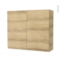 Armoire de salle de bains - Rangement haut - IPOMA Chêne Naturel - 2 portes - Côtés décors - L80 x H70 x P27 cm