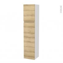 Colonne de salle de bains - 2 portes - IPOMA Chêne Naturel - Côtés blancs - Version A - L40 x H182 x P40 cm