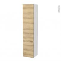 Colonne de salle de bains - 2 portes - IPOMA Chêne Naturel - Côtés blancs - Version B - L40 x H182 x P40 cm