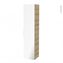 Colonne de salle de bains - 1 porte miroir - IPOMA Chêne Naturel - Côtés décors - L40 x H182 x P40 cm