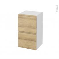 Meuble de salle de bains - Rangement bas - IPOMA Chêne Naturel - 2 tiroirs 1 tiroir à l'anglaise - L40 x H70 x P37 cm