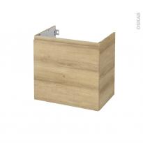 Meuble de salle de bains - Sous vasque - IPOMA Chêne Naturel - 1 porte - Côtés décors - L60 x H57 x P40 cm