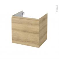 Meuble de salle de bains - Sous vasque - IPOMA Chêne Naturel - 1 porte - Côtés décors - L60 x H57 x P50 cm
