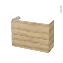 Meuble de salle de bains - Sous vasque - IPOMA Chêne Naturel - 2 tiroirs - Côtés décors - L100 x H70 x P40 cm