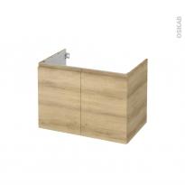 Meuble de salle de bains - Sous vasque - IPOMA Chêne Naturel - 2 portes - Côtés décors - L80 x H57 x P50 cm