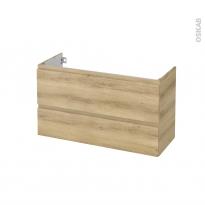 Meuble de salle de bains - Sous vasque - IPOMA Chêne Naturel - 2 tiroirs - Côtés décors - L100 x H57 x P40 cm
