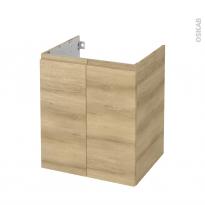 Meuble de salle de bains - Sous vasque - IPOMA Chêne Naturel - 2 portes - Côtés décors - L60 x H70 x P50 cm