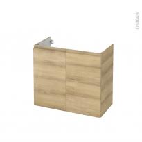 Meuble de salle de bains - Sous vasque - IPOMA Chêne Naturel - 2 portes - Côtés décors - L80 x H70 x P40 cm