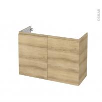 Meuble de salle de bains - Sous vasque - IPOMA Chêne Naturel - 2 portes - Côtés décors - L100 x H70 x P40 cm