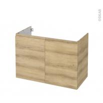 Meuble de salle de bains - Sous vasque - IPOMA Chêne Naturel - 2 portes - Côtés décors - L100 x H70 x P50 cm