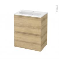 Meuble de salle de bains - Plan vasque REZO - IPOMA Chêne Naturel - 2 tiroirs - Côtés décors - L60,5 x H71,5 x P40,5 cm