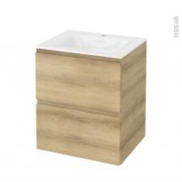 Meuble de salle de bains - Plan vasque VALA - IPOMA Chêne Naturel - 2 tiroirs - Côtés décors - L60,5 x H71,2 x P50,5 cm