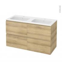 Meuble de salle de bains - Plan double vasque REZO - IPOMA Chêne Naturel - 4 tiroirs - Côtés décors - L120,5 x H71,5 x P50,5 cm