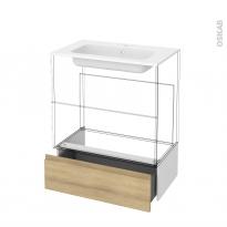 Tiroir sous meuble - Socle n°101 - IPOMA Chêne Naturel - pour meuble salle de bains - L80 x H26 x P45 cm