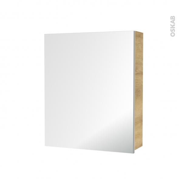 Armoire de toilette - Rangement haut - IPOMA Chêne Naturel - 1 porte miroir - Côtés décors - L60 x H70 x P17 cm