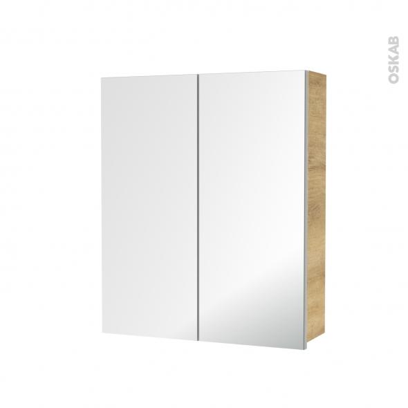 Armoire de toilette - Rangement haut - IPOMA Chêne Naturel - 2 portes miroir - Côtés décors - L60 x H70 x P17 cm