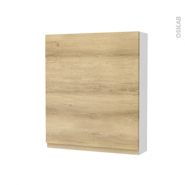 Armoire de toilette - Rangement haut - IPOMA Chêne Naturel - 1 porte - Côtés blancs - L60 x H70 x P17 cm